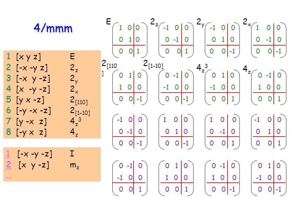 4/mmm E 2z 2y 2x 1 [x y z] E 2 [-x -y z] 2z 3 [-x y -z] 2y